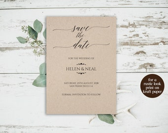 Kraft Paper Save the Date Card, Rustic Save the Date Template, DIY Save the Date, Printable Save Date, Save the Date Card, DIY Wedding, 6041