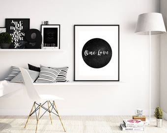 One Love Poster, Hippie Home Decor, Hipster Home Decor, Black and White Printable art, boho home decor, printable wall art, dorm room decor