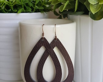 Cafe Vegan Leather Hoop Earrings | Faux Leather Earrings| Lightweight Earrings | Leather Hoop Earrings