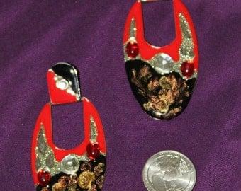 1990's vintage pierced earrings, enamel and rhinestones!