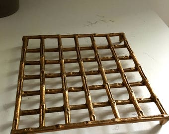 Vintage Brass Gold Faux Bamboo Trivet Kitchen Hot Plate Chinoiserie Hollywood Regency Mid-Century
