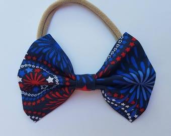 Nylon Bow Headband, Fabric Bow, Fireworks