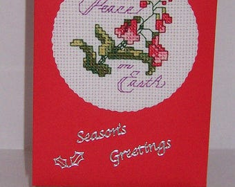 Peace on Earth  completed cross stitch Christmas card, Christmas greeting card, cross stitch card, happy holidays card, handmade card,