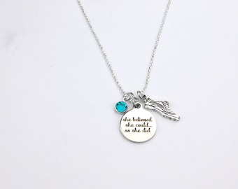 Running Necklace, Runner's Necklace,Running Shoe Necklace, She Believed She Could, Cross Country, Track and Field, Personalized, Runner Gift