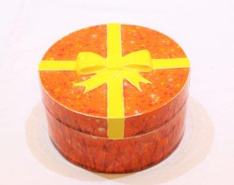 Vintage Orange and Yellow Handmade Ceramic Present, Candy Dish, Trinket Dish, Confections Dish, Home Decor