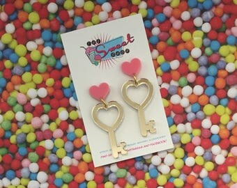 Key to My Heart Acrylic Dangles