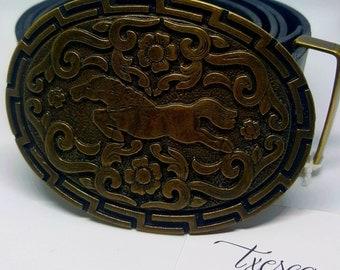 "Belt ""horse"" leather cowhide 4cm black Color"