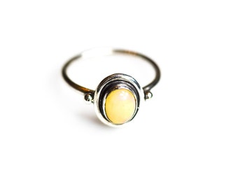 Silver Opal Ring, Natural Opal Ring, Solitaire Ring, Simple Opal Ring,Solitaire Opal Ring, October Birthstone,Anniversary Gift, Gift For Her