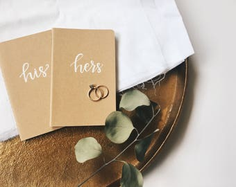 Vow Books Set | His and Hers Vow Books | Calligraphy Wedding Vow Book Set | Personalized Vow Keepsake | Moleskin Journal Vows |