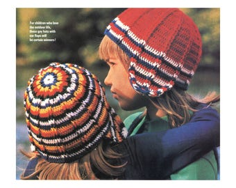 Earflap Helmets Crochet Pattern - for kids, young adults, ribbed beanie hat