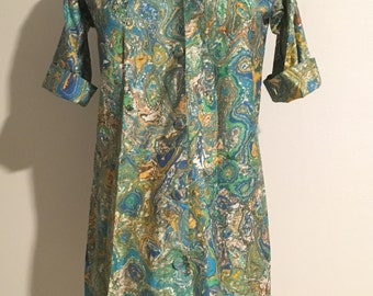 Size M/L 1960s psychedelic print shift dress