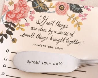 """Small knife surprise! Personalized knife engraved with the message """"spread love""""-"""