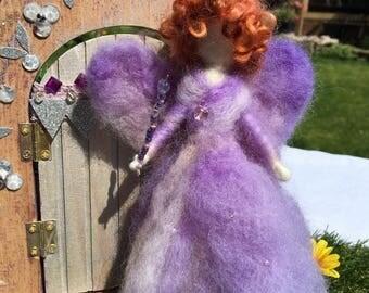 Handmade Purple Needle Felted Wool Fairy