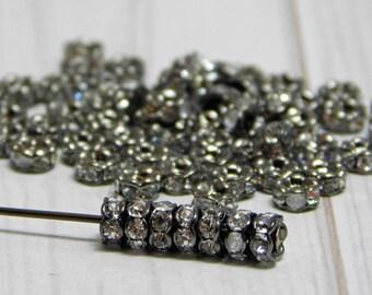 Rhinestone Rondelle Beads - Gunmetal Spacer Beads - Rhinestone Spacers - 4mm Spacers - Crystal Spacers - 25pcs - (368)