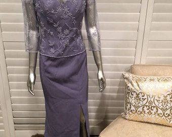 Lavender Mother of the Bride Dress Sz 10 Sleeveless with Beaded 3/4 Sleeve Lace Top Tea Length V Neck