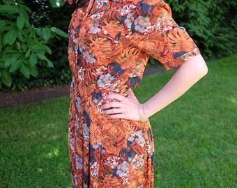 Elevint Japanese Orange Floral Short Sleeves Shirt Dress M