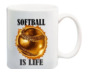 Softball is life metallic softball coffee mug,I love softball coffee mug, softball dad coffee mug, softball mom coffee mug, softball mug