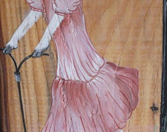 series * dressed goats *: paint on wood - she put her pink dress.
