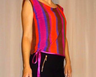 Striped top / colorful knit scraped By Luna sewing