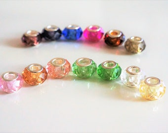 set of 13 beads faceted pandora charms, European glass, 14 * 8 * 5 mm