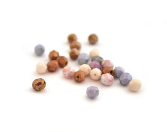 Mix of 25 beads Bohemian faceted purple, blue, pink and cream 6mm