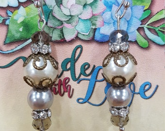 pearl and sparkle drop earrings