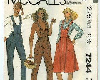 7244 McCall's - Misses Pull-On Jumper & Overalls - UNCUT Sewing pattern sz 10 - Vintage 1980