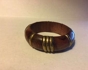 Wood and Metal Bangle Bracelet, Wooden Bracelet
