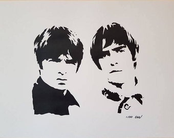 Oasis Limited Edition Hand-Painted A2 Poster Painting Black and White