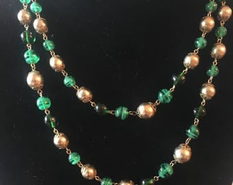 Gold and Green Beaded Necklace