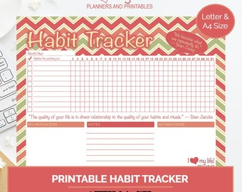 Juicy Habit Tracker, printable planner, goal setting planner, how to track your habits, organizational planner, letter size planner, A4