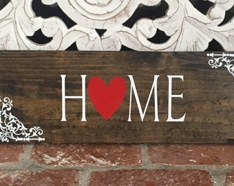 wood sign home heart