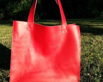 Genuine Leather Red Bag,High quality leather.Tote bag.Gift-red genuine leather  belt !