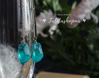 Shimmer teal rasin earrings - Long dangle earrings - Chain earrings - Dangly earrings - Art deco earrings - Earrings for her