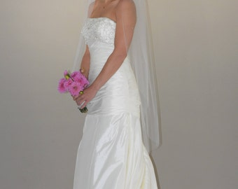 "48"" Angel Cut Swarovski Crystals Scattered Wedding Veil with Cut Edge"