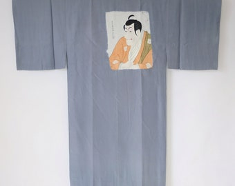 Vintage Japanese Men's Juban Kimono Grey Sharaku Ukiyoe M85