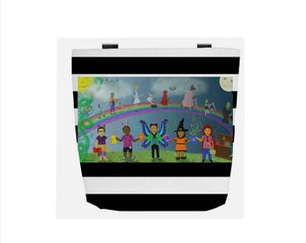 Black & White Striped Fairy Tale (Everyday Use) Tote Bag with Reading Rainbow