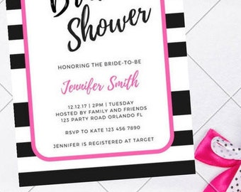Kate Spade Theme Bridal Shower Printable Invite