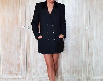 Vintage black jacket,Wool jacket,Jacket for evening,Spring jacket,Jacket for fall,Club jacket,Black blazer,Fasion jacket,Chic jacket