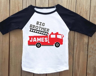 Big brother shirt, fire truck shirt, big brother announcement shirt, sibling outfits, brother outfits, brother shirts, Pregnancy reveal