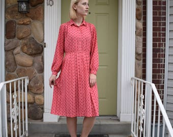 "Japanese vintage | pink dress black polka dots| long sleeves | button up | ""Renoir by Tachikawa"" | size medium"