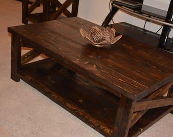 Rustic Farmhouse Pine Coffee Table