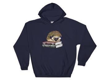 Adorable Hedgehog Book Nerd Hooded Sweatshirt A Princess Pricklepants Original Hoodie Design