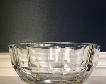 Vintage Godinger 10 Sided Clear Crystal Glass Bowl