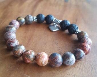 Essential oil diffuser bracelet/ Leopardskin jasper diffuser bracelet / Aromatherapy lavastone diffuser bracelet