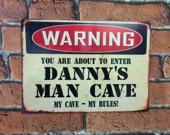 Man Cave Sign Personalised Vintage Metal Aluminium Sign Gift Idea
