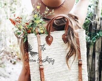 Handmade Straw Backpack - French Basket backpack, Moroccan Basket, straw bag, french market basket, Beach Bag, straw bag