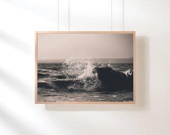 Black and White Ocean Wall Art, Minimalist Ocean Printable Art, Black and white ocean, Beach Printable Art, Printable Poster, Digital Print