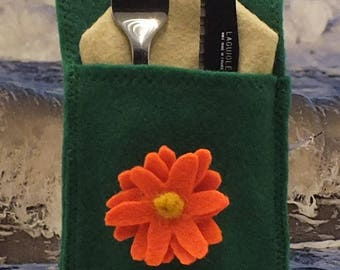 Cutlery bag with orange flower