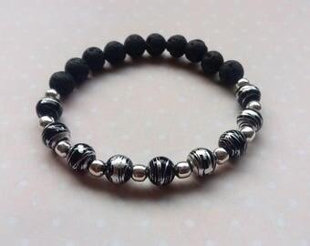 Essential Oil Diffuser Bracelet, Lava Stone and  Drawbench Drizzle Glass Stretch Bracelet,  Black Silver Bracelet